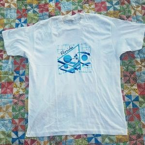 VTG Thin Cotton Florida White Blue T-shirt XL M L